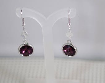 Swarovski Crystal Rivoli Earrings - Silver Plated Findings - TierraCast Settings