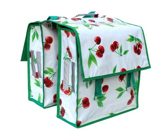 colorful bicycle bag pannier doble pocket bike panniers, oilcloth, waterproof, retro look, with cherries, Cerezas white