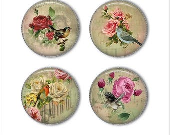 Shabby Chic magnets or Shabby Chic pins, vintage magnets pins, refrigerator magnets, fridge magnets, office magnets
