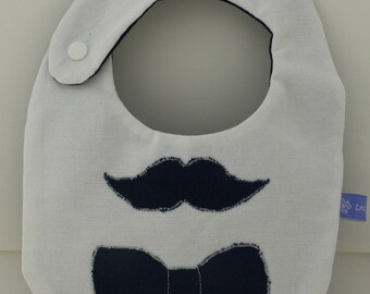 Unique bib, handmade for baby boy in Navy Blue and white cotton, mustache, beard and bow tie. To order