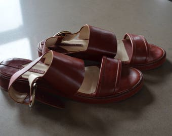 Get 15% off with code NEW15 Sandals flat vintage Burgundy!                                                 38