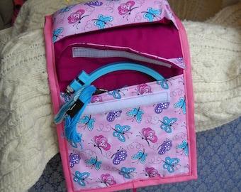 Pink Butterflies Sewing Caddy, Pincushion, Sewing Organizer
