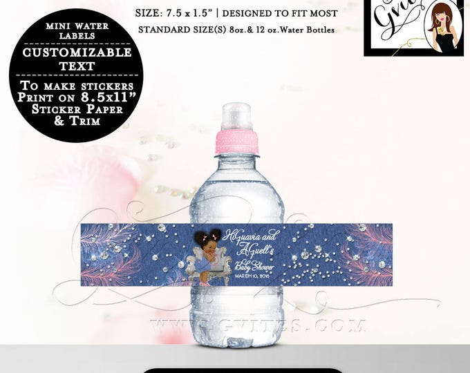 """Denim and Diamonds MINI Water Bottle Labels, baby shower stickers, water label Fits 8oz-12oz. Size: 7.5 x 1.5""""/7 Per Sheet."""