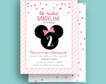 Minnie Mouse Invitation, Kids Birthday Party Invite, Printable, 5x7 Invite, Back Pattern, Pink, 24 Hour Proof Turnaround