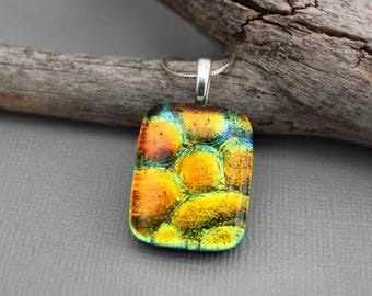 Rainbow Necklace For Women - Fused Glass Jewelry - Rainbow Jewelry - Gay Pride Jewelry - Unique Necklace