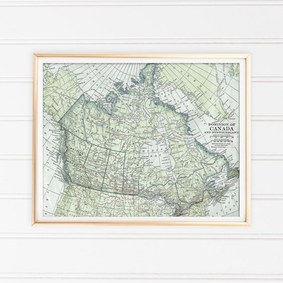 Canada Map Art Print Map Printable Art Old Map Poster Blue - Old map of canada