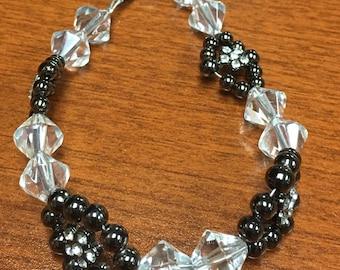 Hematite and Crystal Bracelet