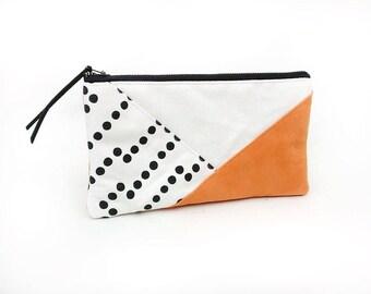 Pouch bag, Pencil case, Purse wallet, Trousse, Brown vegan leather purse, Colorblock pouch with zipper, Small makeup bag, Travel pouch