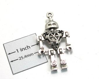 Antiqued Silver Metal 46mm x 25mm ROBOT Pendant, 1088-25
