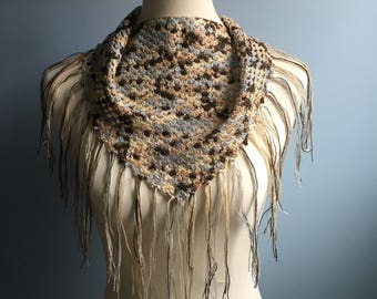 HANDMADE Crocheted light weight scarf | Summer shawl | triangle scarf | spring scarf | tan and blue scarf