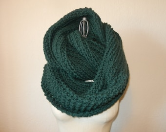 Oversized Long Chunky Knit Infinity Scarf Forest Green
