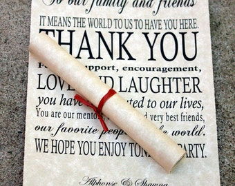 Wedding Thank You Scrolls, Thank You scrolls, wedding day thank you cards, thank you place cards, Scrolled thank you notes, Set of 20