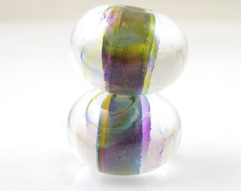 Amazonia Swirls Earring Pair Encased SRA Lampwork Handmade Artisan Glass Donut/Round Beads Made to Order Pair of 2 10x15mm