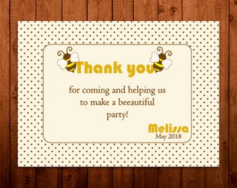 Bumble bee birthday party, Bumble bee party, Thank you cards, Thank you tags, thank you card birthday, Digital thank you card, Printable