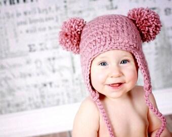 Baby Bear Pom-Pom Hat, Pink Earflap Beanie