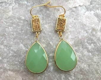 Twilight Drop Earrings,Green Teardrop Tourmaline Earrings, Green Drop Earrings, Druzy Earrings, Wedding Earrings, Bridesmaid Earrings,
