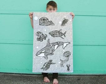Life Aquatic Large Coloring Poster Sea Creatures