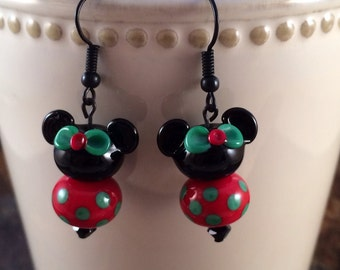 Mouse Earrings, That Mouse Earrings,  Mouse Lampwork Style Jewelry, Christmas Jewelry, Mouse Fan Jewelry