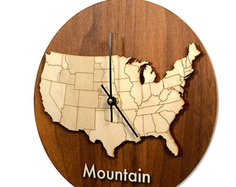 Wood Time Zone Wall Clock