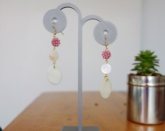 Pink Acrylic Flower and Mother of Pearl