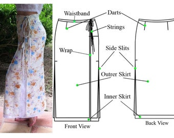 Double Wrap Straight Maxi Skirt with two side slits and tie strings-PDF sewing pattern-Women's sewing pattern. Sizes 4, 6, 8, 10.
