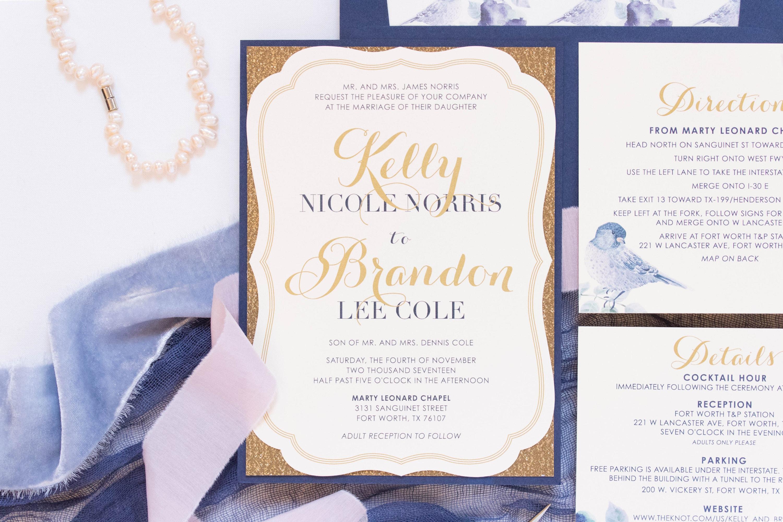 5x7 Navy & Gold Metallic Glitter Silhouette Die Cut Vintage Wedding ...