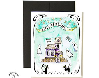 Haunted House Halloween Card Set - A2 - Blank