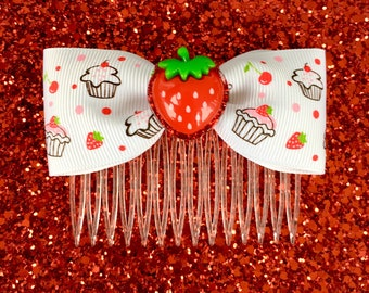 Glitter Sweet Strawberry Cupcake Hair Comb - Rockabilly - Retro - Pinup Girls
