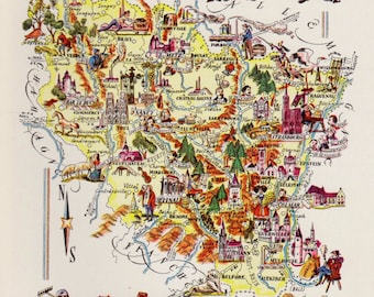 Vintage FRANCE Picture Map of France Print ALSACE & LORRAINE Region France Travel Map Gallery Wall Art Gift for Boyfriend Birthday Gift