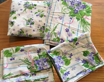 Vintage Stevens Utica African Violets Percale Queen Sheet Set - Flat, Fitted and Two Standard Pillowcases- Utica sheets, african violets