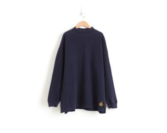 Navy Mock Neck Top Aesthetic Clothing 90s Grunge Turtleneck Top Oversized Turtle Neck Sweater Vintage Plus Size Womens XL 2XL 1X, Mens Large