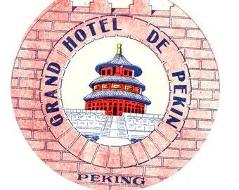 Genuine Vintage 1930s-'50s Grand Hotel de Pekin, Peking [Beijing] China -- Free Shipping!