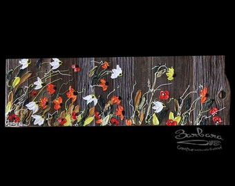 Summer Breezes, 14x38, Black frame, Abstract Floral Impasto Painting, Item# 280