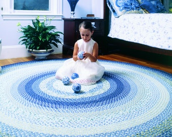 Braided Rugs- wedge wood blue cotton PRIMITIVE braided rug