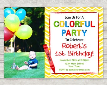 Crayon Birthday Invitation, 1st Birthday Invitation - Digital File (Printing Services Available)