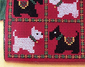 MAYniaSALE Scotties & Westies, Needle Case, A Counted Cross stitch Needle Case Kit Embroidered front And back