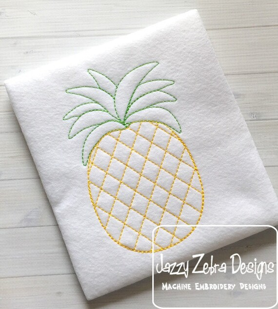 Pineapple Color Work embroidery design - Pineapple Red Work Embroidery Design - pineapple Embroidery Design - fruit Embroidery Design