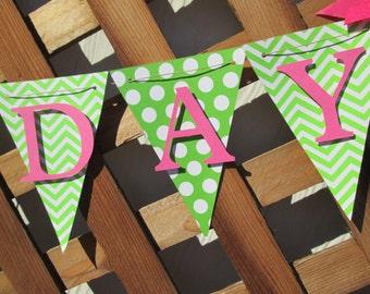 Chevron and polka dot happy birthday banner, birthday banner, happy 1st birthday