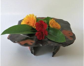 Brown and Black Earthy Table Basin Vase Ceramic Stoneware Vessel
