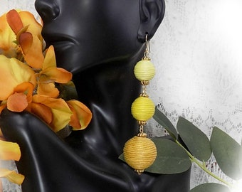 Earrings Bon Bon Ball - Triple Tier Drop Earrings ,Thread Ball Earrings - Long Drop Earrings- Trendy Dangle Earrings - Gift for Her - # J 21