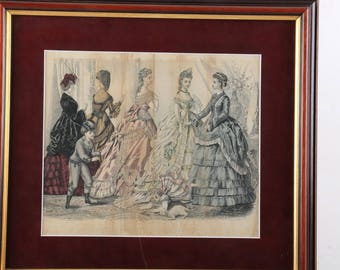 Two antique, 19th Century framed fashion plates, prints, etchings, Godey's Fashion's January and February of 1871