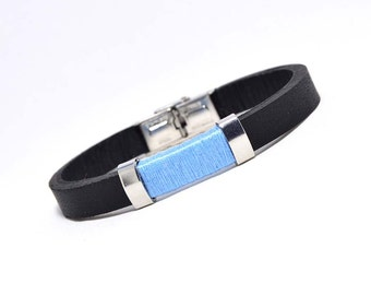 Leather and stainless steel bracelet light blue