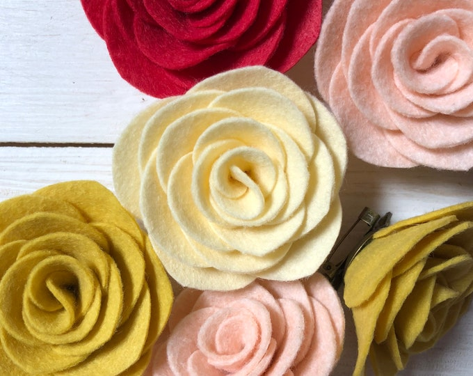 Featured listing image: Felt flower brooch - rose - teacher gift