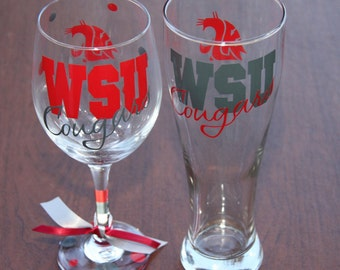 WSU Cougars, Sports Bar Glassware, Go Cougs! WSU Cougs Gifts, Coug Personalized Gifts