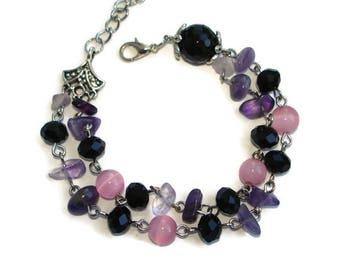 Amethyst crystal bracelet bridesmaid jewelry set of 3 strand bracelet women power bracelet for small wrists Custom jewelry for wife birthday