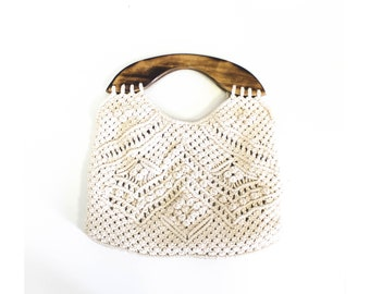 Cream colored Macrame Purse with wooden handles