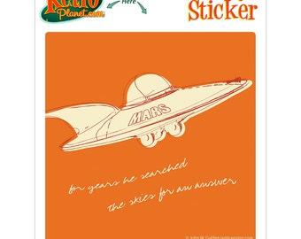 Flying Saucer Lunastrella Square Vinyl Sticker - #64397