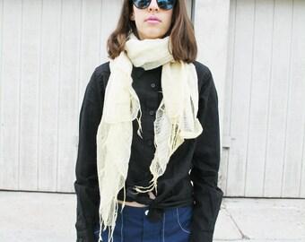 Pale yellow thin gauze scarf