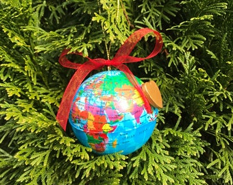 Globe Ornaments with gold wooden heart
