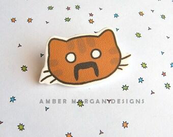 Moustache Cat Brooch, Cute Cat Face Pin, Funny Cat with Moustache, Cat Lover, Moustache Lover, Wearable Art, Kawaii Brooch